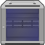 Wall-mounted network rack vector image