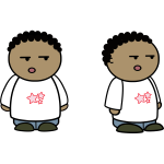 Vector clip art of black kid comic character
