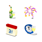 new years icon set