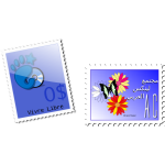 Vector graphics of gnome and butterfly postal stamps