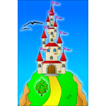 A castle on the top of a hill vector image