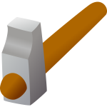3D hammer icon vector drawing