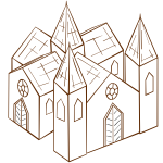 Vector image of role play game map icon for a cathedral