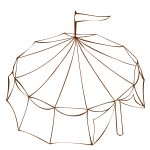 Vector drawing of Role Playing Game map symbol of a tent from a circus