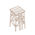Vector drawing of role play game map icon for a watchtower