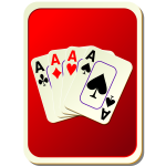 Red playing card back vector illustration