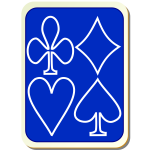 Playing card back blue with white vector illustration