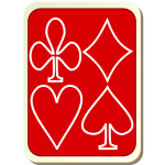 Playing card back red with white vector drawing