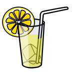 Vector drawing of lemonade in glass