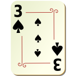 Three of spades playing card vector illustration