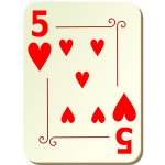 Five of hearts vector clip art