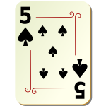 Five of spades playing card vector illustration