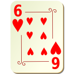 Six of hearts vector graphics