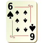 Six of spades playing card vector illustration
