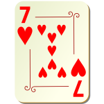 Seven of hearts vector drawing