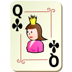 Queen of clubs vector clip art