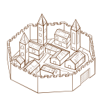 City in walls RPG map symbol vector image