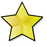 Golden star with border vector image
