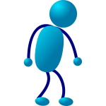Blue stick man figure vector illustration