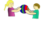 children sharing a ball