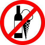 """NO DRINKS, NO ICE CREAM"" sign vector image"