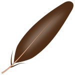 Vector drawing of brown shaded feather