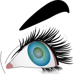 Illustration of close-up of a blue female eye