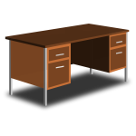 An office desk vector drawing