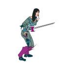 Cartoon vector image of fencer