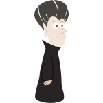 Old vampire in black cloak vector illustration