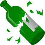 Broken green bottle vector image