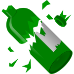 Broken to pieces green bottle vector graphics