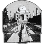 Vector clip art of old picture of Taj Mahal