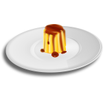 Vector clip art of creme caramel on dinnerplate