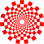 Vector drawing of squares connected as spirals