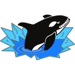 Vector image of big orca smiling sadistically