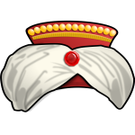 Vector drawing of decorated sultan cap with a gem