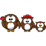 Happy family of owls vector illustration