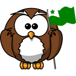 Owl with flag