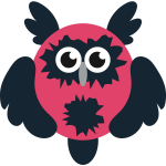Red and black cartoon owl