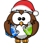 Owl dressed like Santa Claus vector