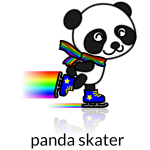 Vector image of rainbow trailpanda skate