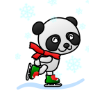 Vector illustration of panda with a red scarf
