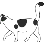 White cat walking vector drawing