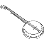 Vector illustration of banjo chordophone