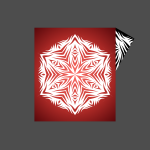 Snowflake on red background