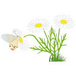 Butterfly on a daisy vector image