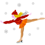 Vector clip art of ice skating girl in skirt