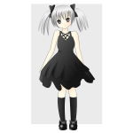 Vector drawing of girl with silver hair