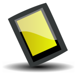 Vector image of glossy tilted black PDA device